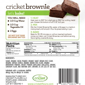 Cricket Flour Brownie Nutrition