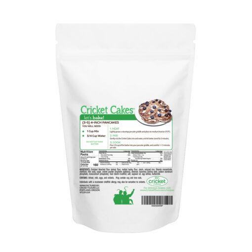 Cricket Cakes pancake and waffle mix and nutritional information for cricket protein